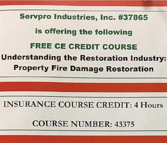Commercial SERVPRO of Cincinnati East Offers Continuing Education Course 9/20/17