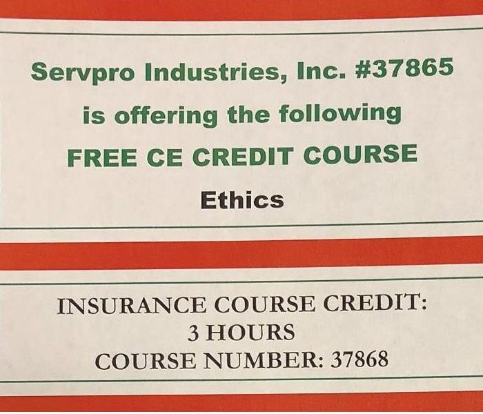 Water Damage SERVPRO OF CINCINNATI EAST TO OFFER CONTINUING EDUCATION COURSE