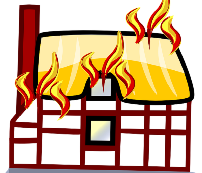cartoon picture of house with flames coming out of roof